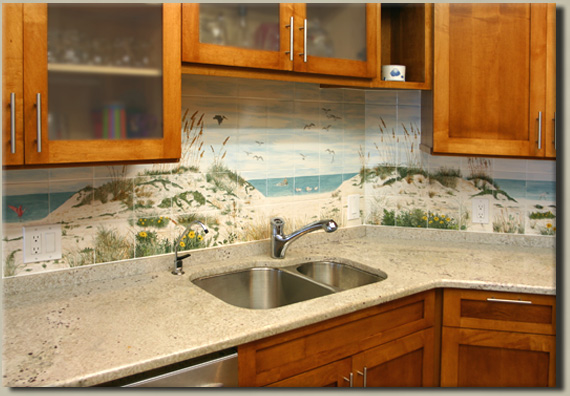 tumbled stone tile murals for kitchen backsplash, decorative tile